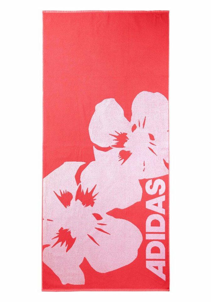 Strandtuch, adidas Performance, mit Blumenmotiv in rot