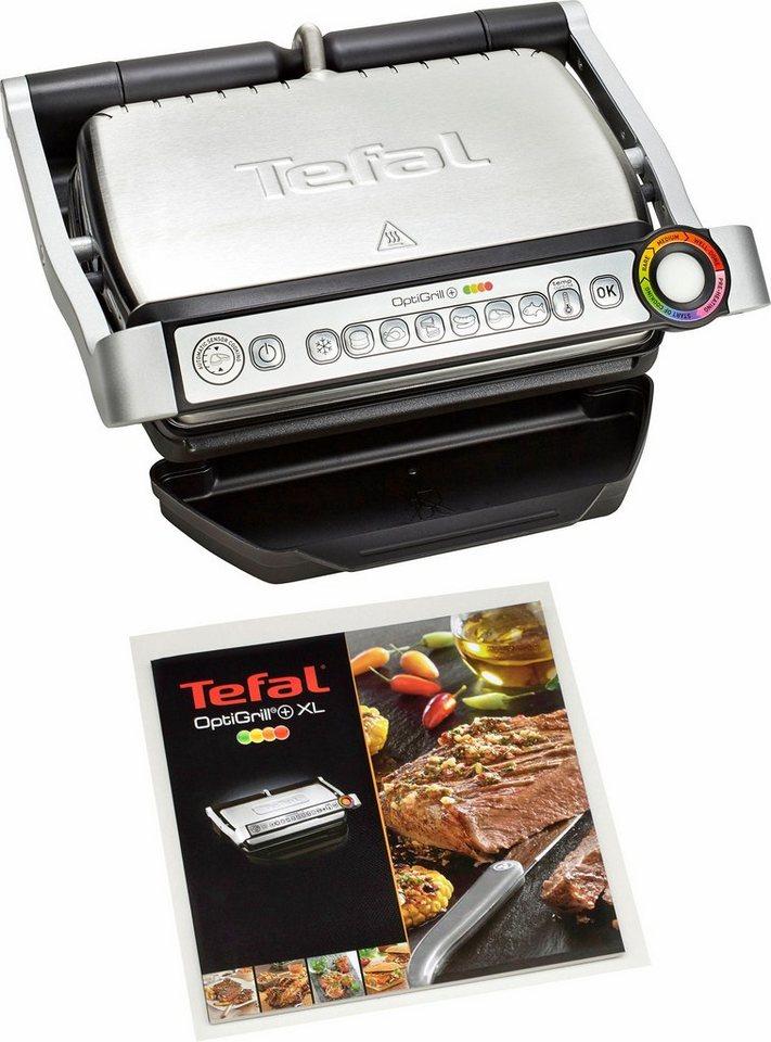 Tefal Grill GC712D OptiGrill+, 2000 Watt, gebürsteter Edelstahl in schwarz-edelstahl
