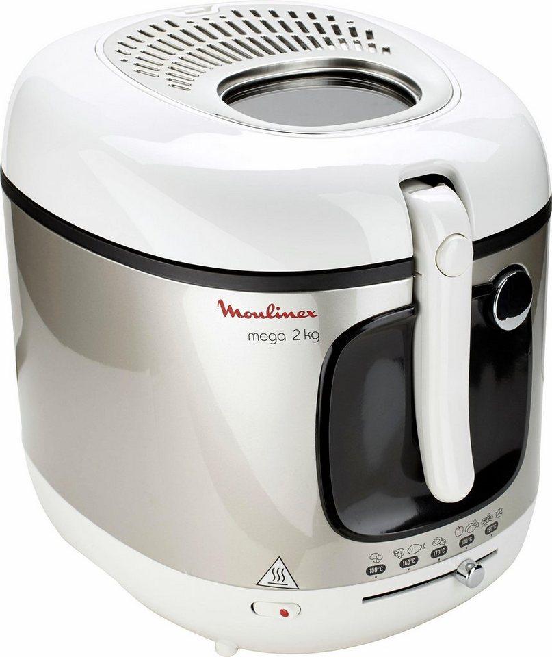 Moulinex Fritteuse Mega AM4800, 2100 Watt, 2 kg Frittiergut in weiß-edelstahl