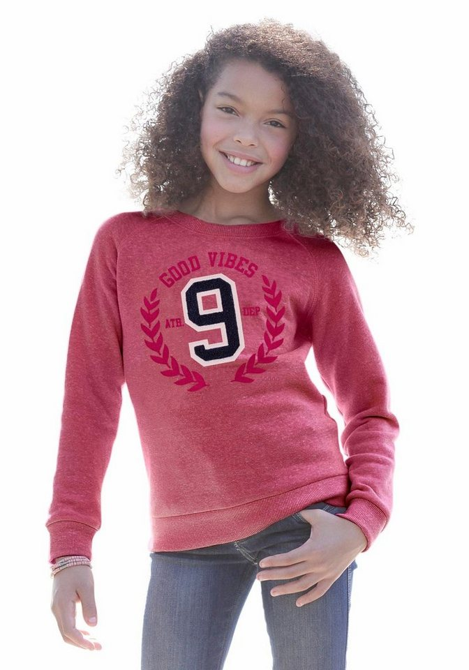 KIDSWORLD Sweatshirt mit Druck und Applikation in rot-meliert