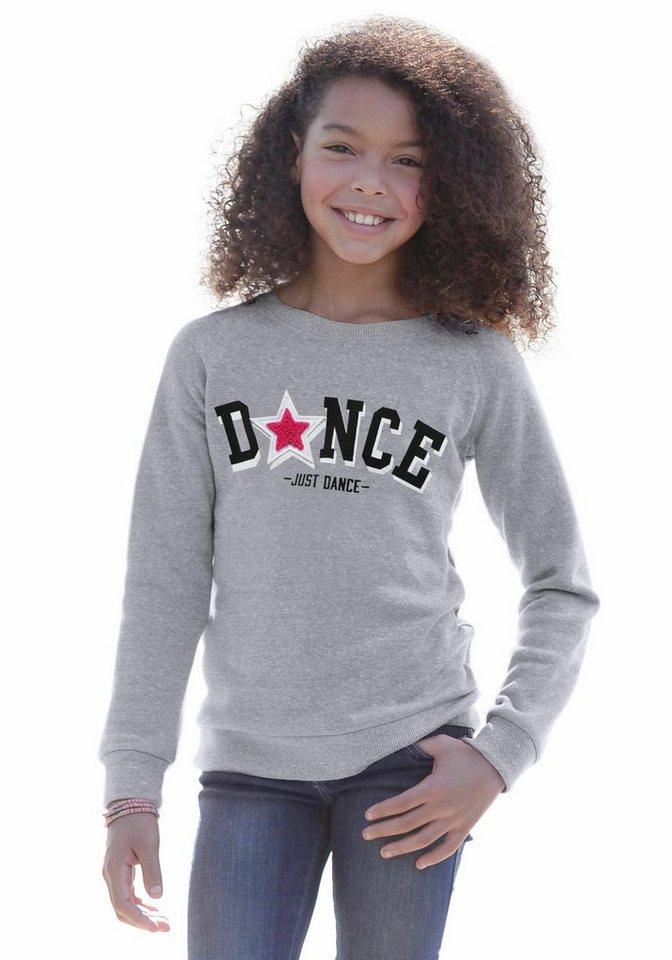 KIDSWORLD Sweatshirt mit Druck und Applikation in grau-meliert
