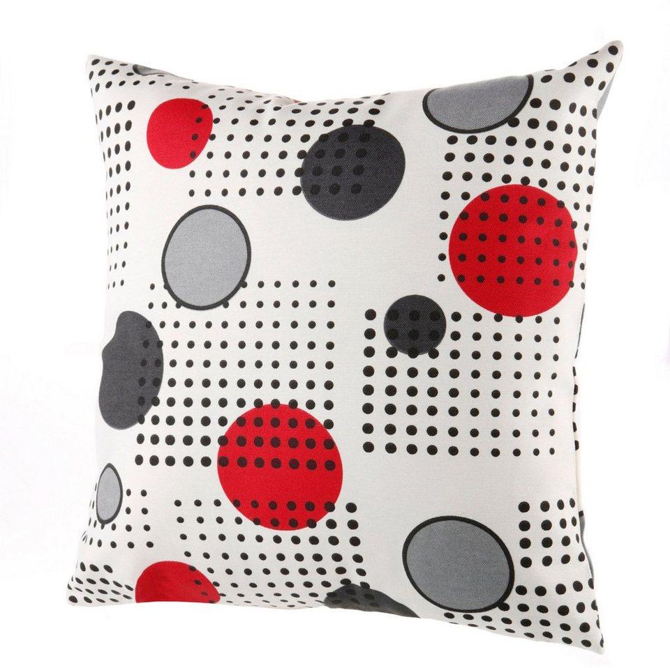 Kissenhüllen-Set mit Punkten, 2-teilig in creme/grau/rot
