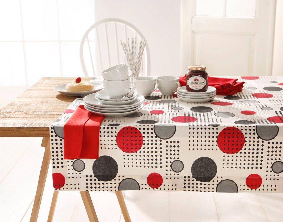 Tischdecke mit Punkten in creme/grau/rot