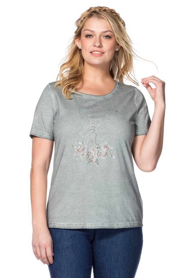sheego Style T-Shirt in grau Hirsch
