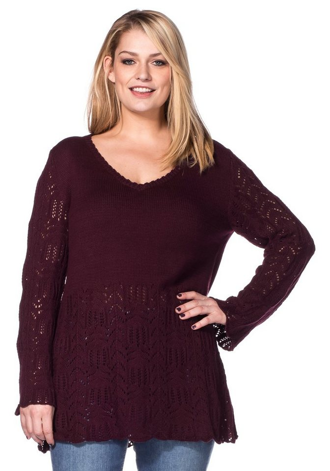 sheego Style Ajour-Strickpullover mit Lochmuster in bordeaux
