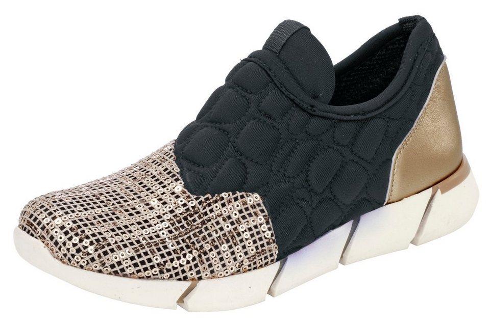 Andrea Conti Sneaker mit Pailletten in schwarz/goldfarben