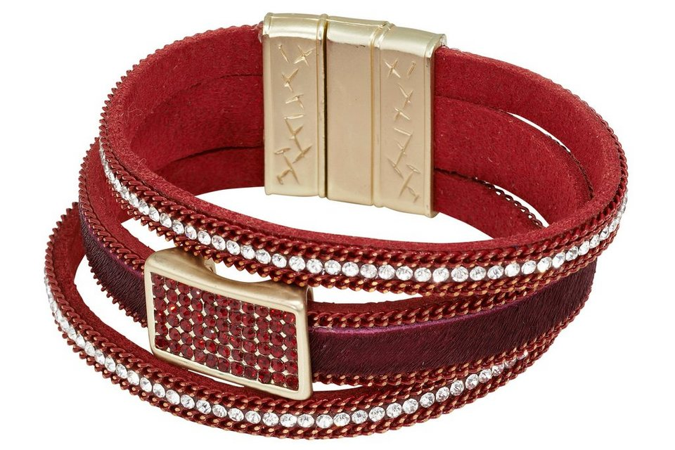 Armband in rot/goldfarben