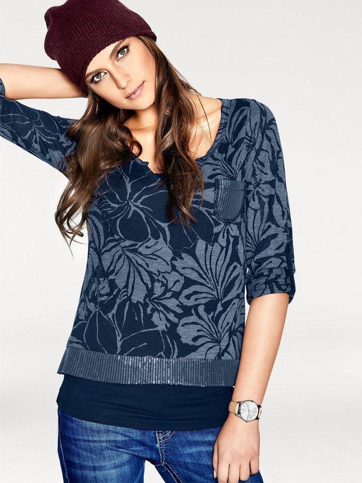 B.C. BEST CONNECTIONS by Heine Shirt-Zweiteiler mit Blumendruck in blau