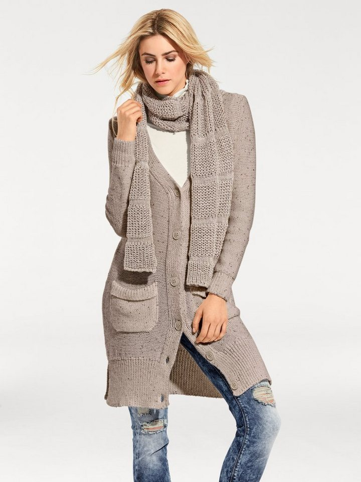 Longstrickjacke in taupe