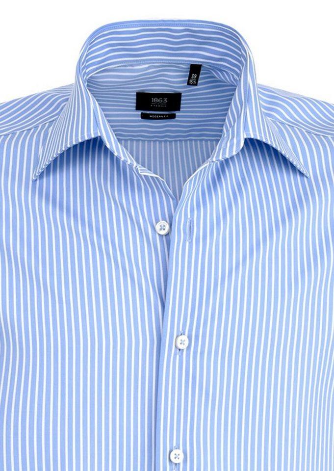ETERNA Langarm Hemd »MODERN FIT« in hellblau/weiß