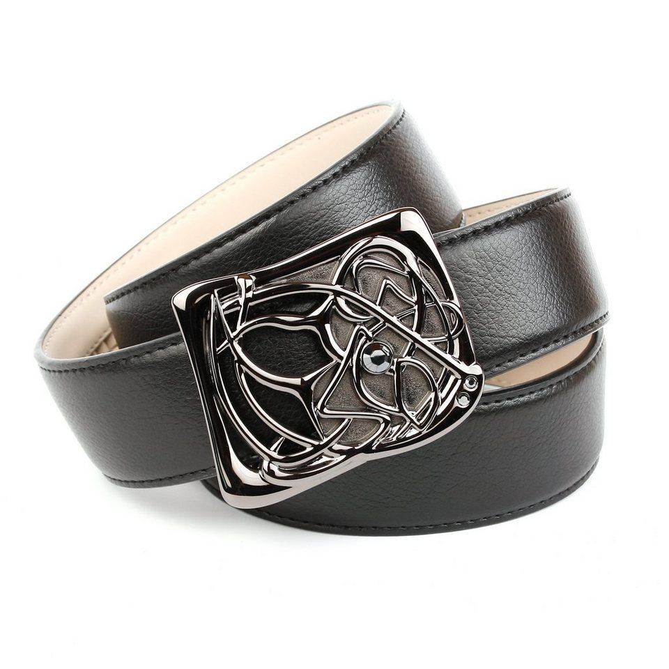 Anthoni Crown Jeansgürtel mit Designer-Schließe in Schwarz
