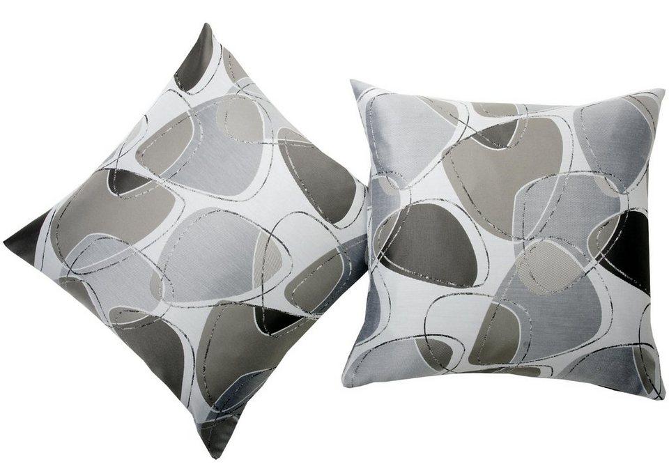 Kissenhüllen, deko trends, »Toledo« (2 Stück) in wollweiss/taupe