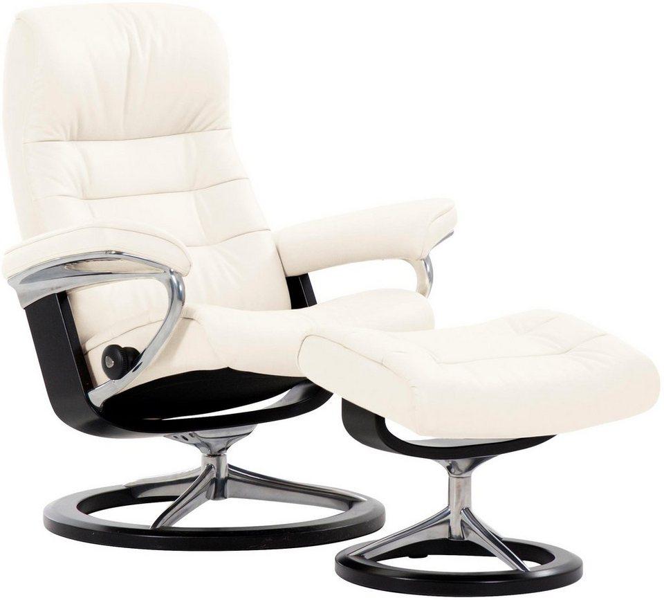 Stressless® Set: Relaxsessel mit Hocker »Opal« mit Signature Base, Größe L, mit Schlaffunktion in snow