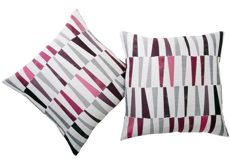 Kissenhüllen, deko trends, »Campari« (2 Stück) in wollweiss/pink