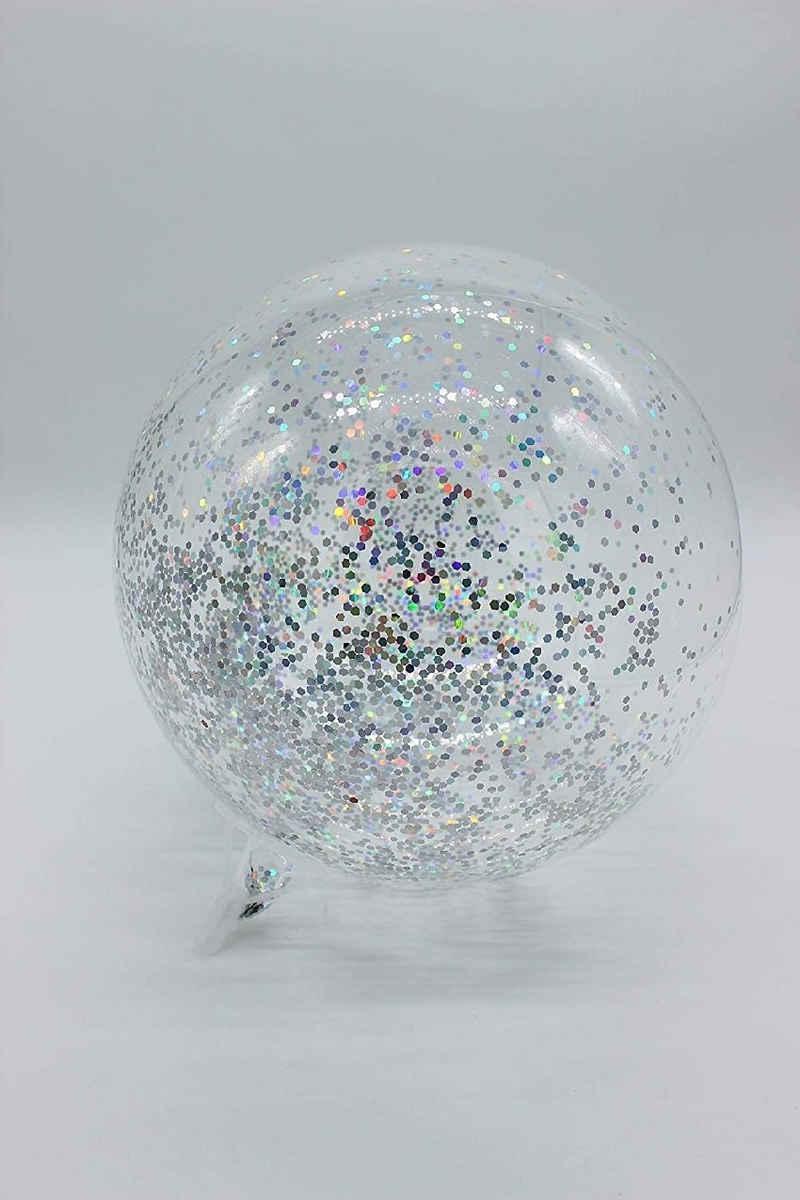 JOKA international Luftballon »Konfetti Luftballon incl. Füllung silber, 3er Set incl. Pumpe«, Luftballon mit Konfetti Füllung in silber