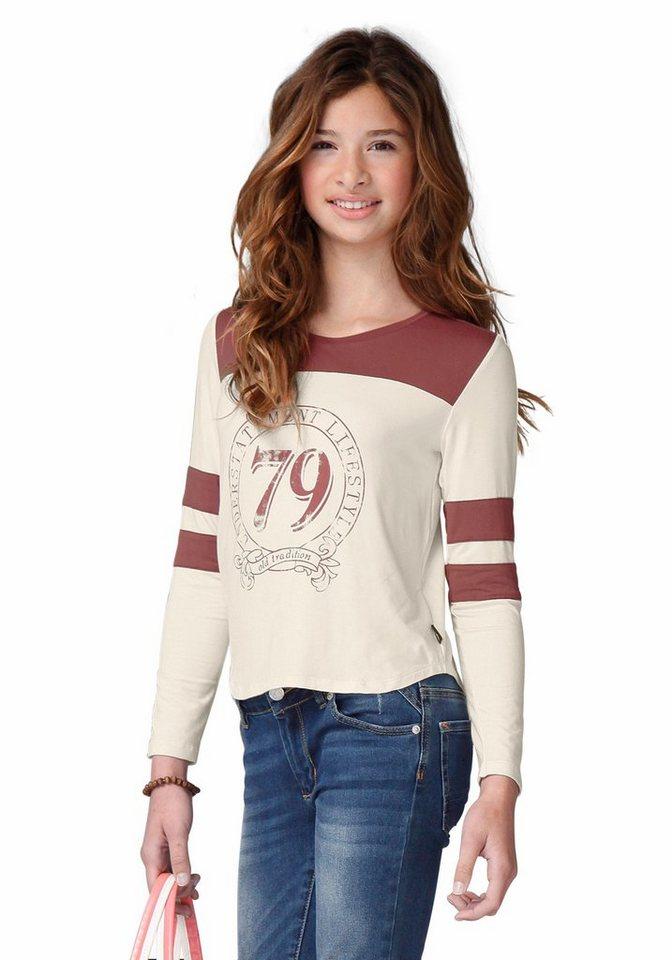 Buffalo Langarmshirt mit kontrastfarbenem Einsatz, für Mädchen in natur-rostrot