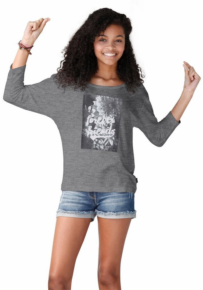 Buffalo 3/4-Arm-Shirt mit Frontdruck in grau-meliert