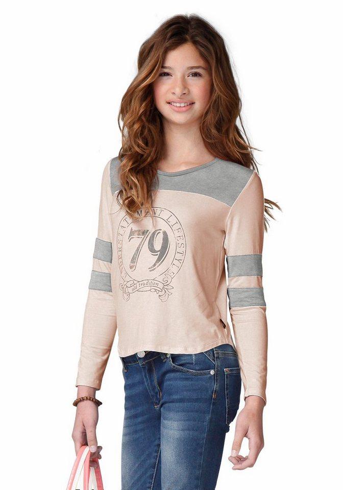 Buffalo Langarmshirt mit kontrastfarbenem Einsatz, für Mädchen in Rosa-grau-meliert