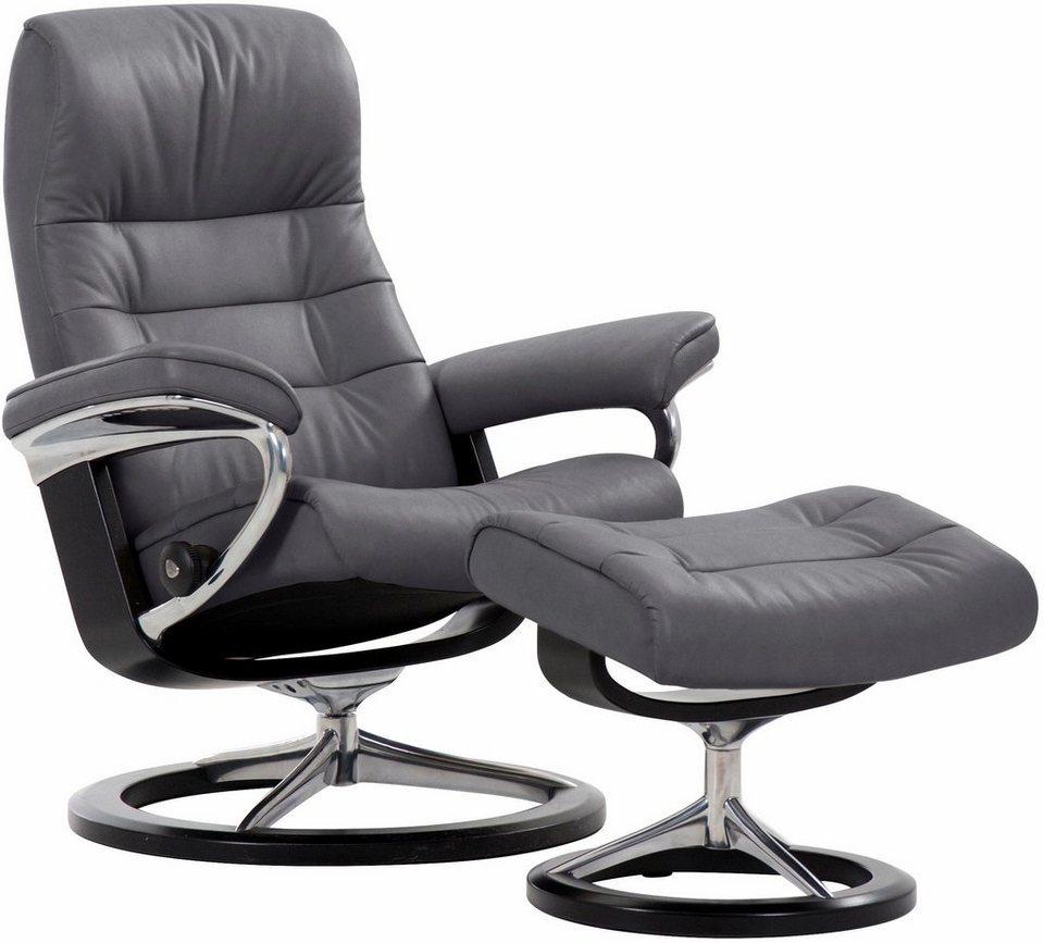 Stressless® Set: Relaxsessel mit Hocker »Opal« mit Signature Base, Größe M, mit Schlaffunktion in grey