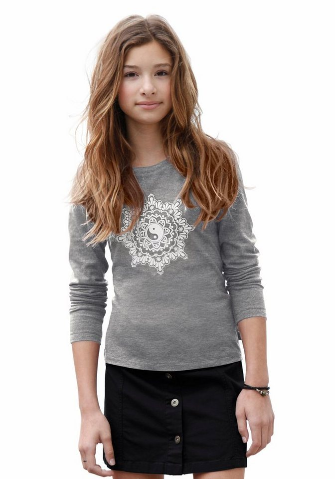 Buffalo Langarmshirt mit Frontdruck, für Mädchen in grau-meliert