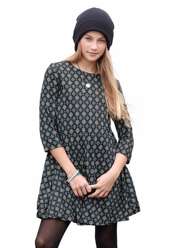 Buffalo Jerseykleid mit Alloverdruck in dunkelgrün-gemustert