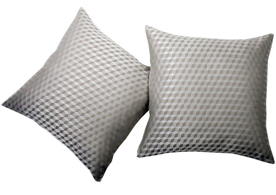 Kissenhüllen, deko trends, »Quader« (2 Stück) in beige/wollweiss