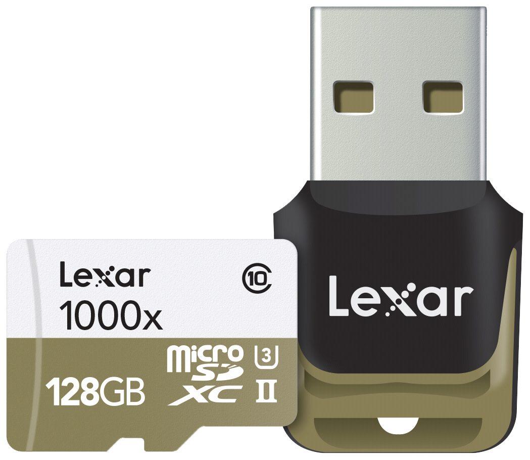 Lexar Speicherkarten »microSDHC 1000x 128GB UHS-II mit USB 3.0 Reader«