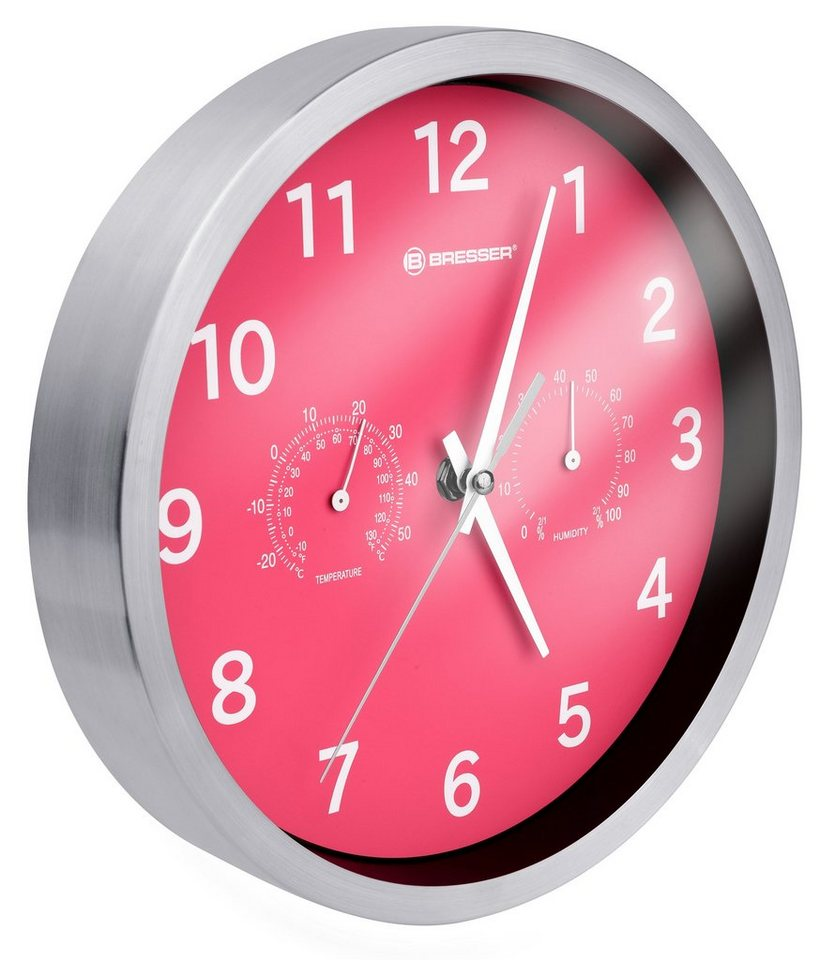 BRESSER Wanduhr »BRESSER MyTime DCF Thermo-/ Hygro- Wanduhr 25cm« in pink