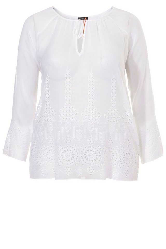 FRAPP Federleichte Sommer-Bluse mit Lochstickerei in WHITE