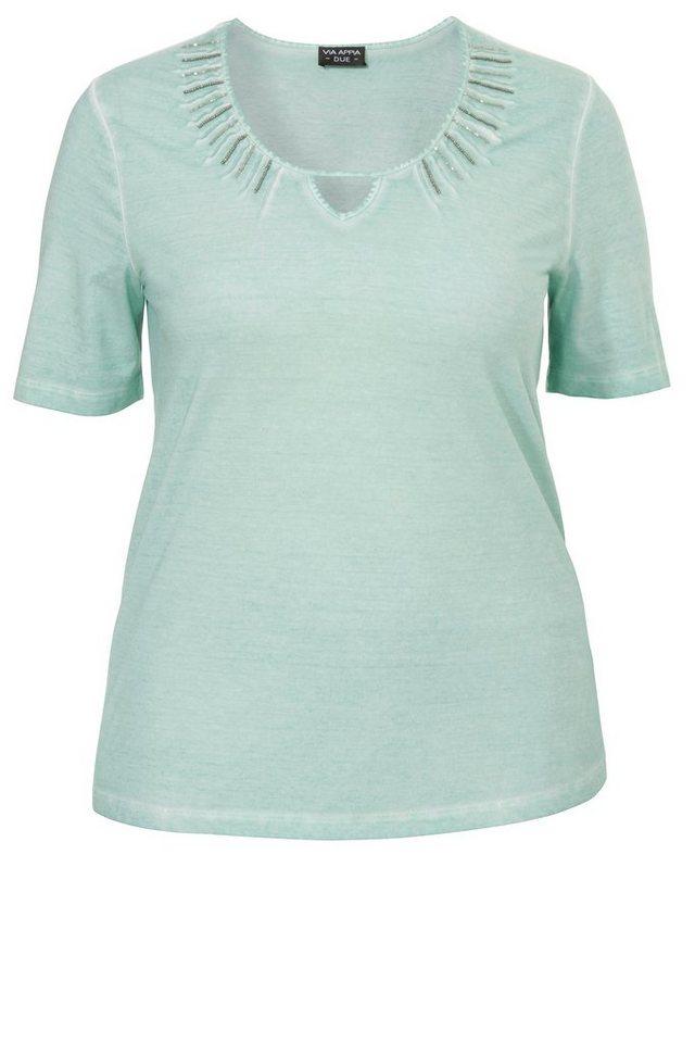 VIA APPIA DUE Zartes Baumwoll- Jerseyshirt mit geschmücktem Dekolleté in OPAL