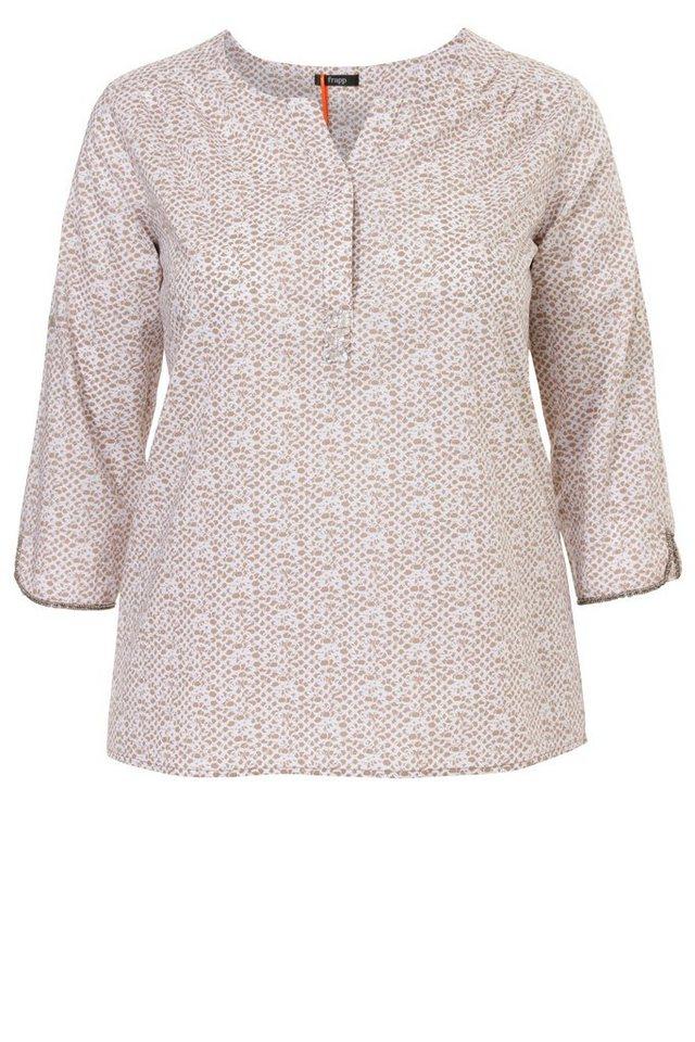 FRAPP Schmeichelnde Viskose-Bluse mit Summer-Print in WHITE / LIGHT COGNAC