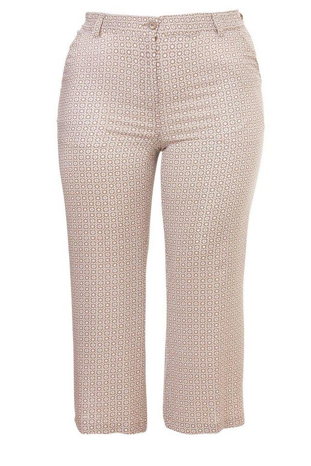 FRAPP 7/8-Sommer-Print-Hose mit weitem Bein in LIGHT COGNAC / WHITE