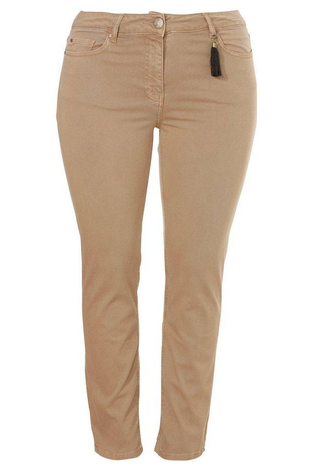 FRAPP Colour-Jeans, knöchllang mit schmalen Beinen in LIGHT COGNAC