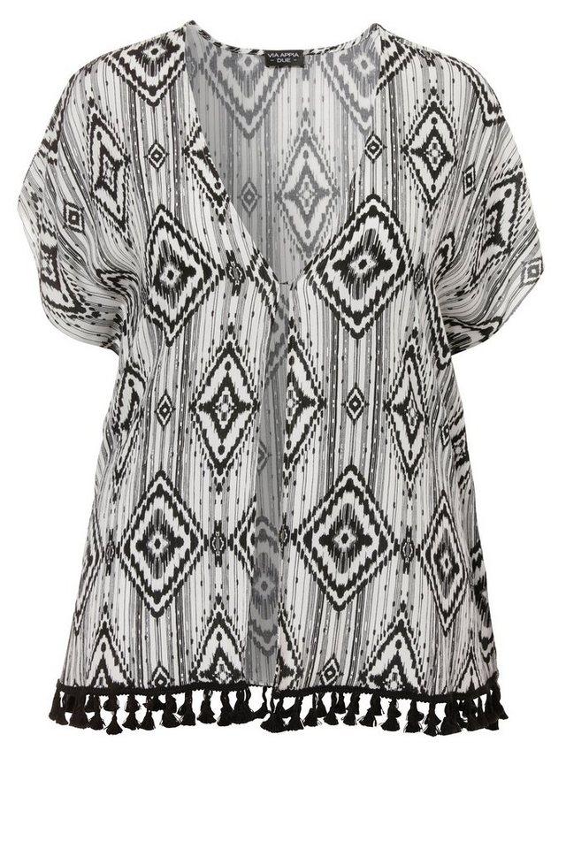 VIA APPIA DUE Kimono / Offene Bluse »Modern Ethno« in KOKOS / SCHWARZ