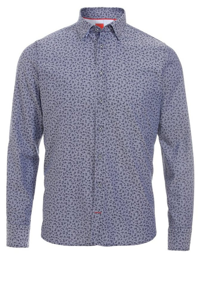 Pure Lässiges Langarmd Hemd in druck dunkelblau