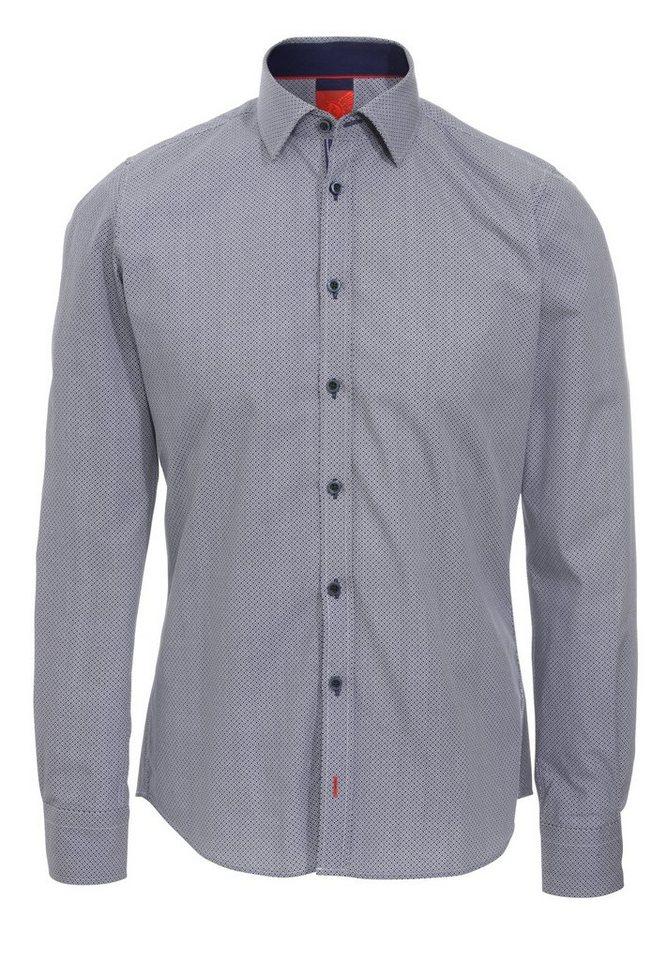 Pure Langarmhemd in druck dunkelblau
