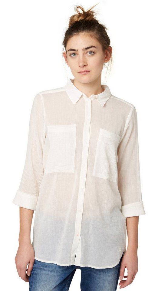 TOM TAILOR DENIM Bluse »leicht transparente Boyfriend-Bluse« in soft light beige