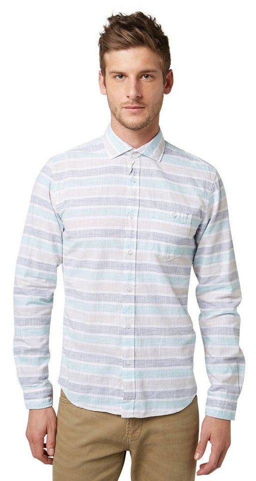 TOM TAILOR DENIM Hemd »big striped shirt« in waterfall green