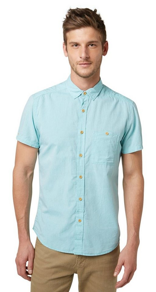 TOM TAILOR DENIM Hemd »shortsleeve solid style« in waterfall green
