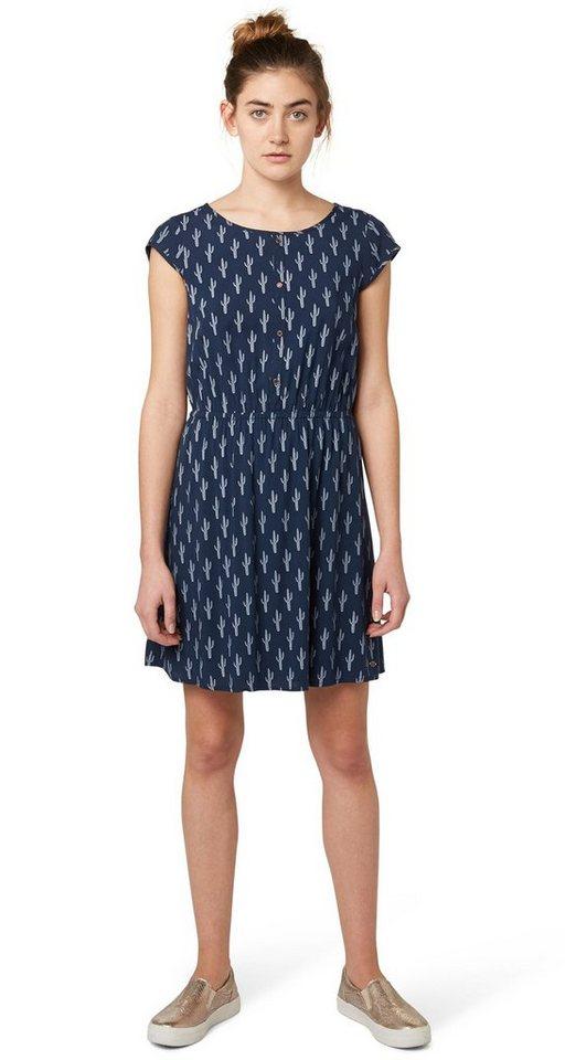 TOM TAILOR DENIM Kleid »gemustertes Kleid mit Rückendetail« in total eclipse blue