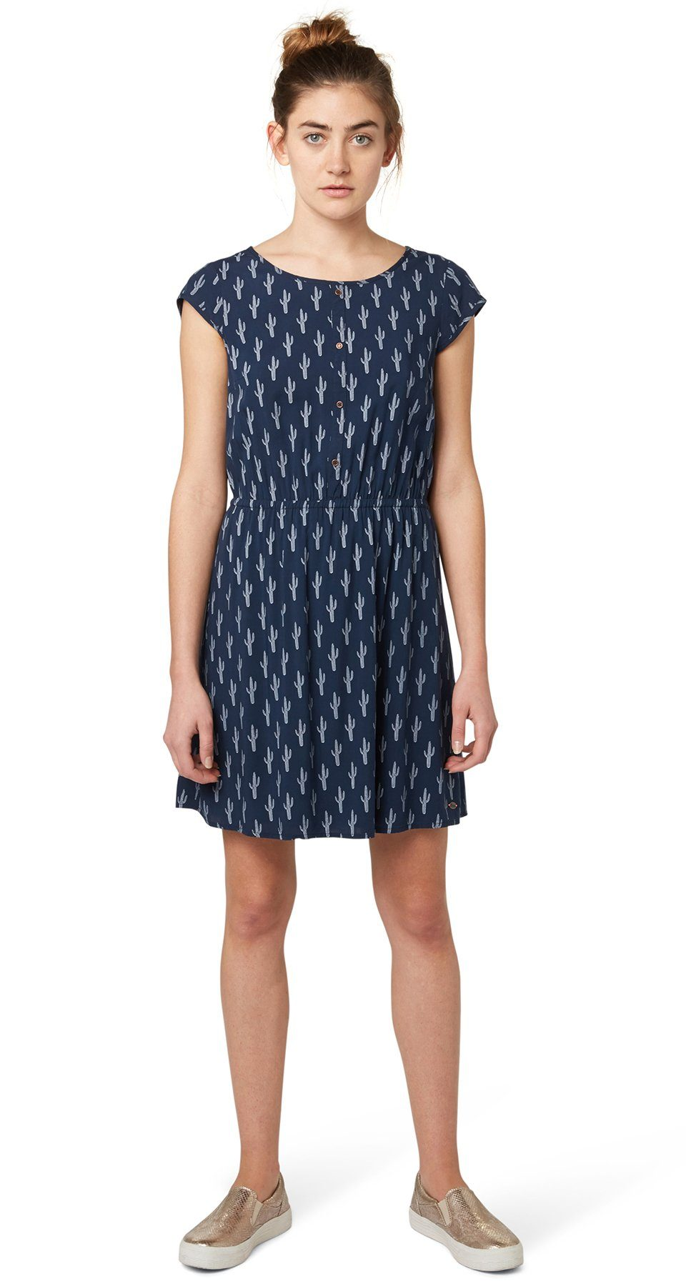TOM TAILOR DENIM Kleid »gemustertes Kleid mit Rückendetail«