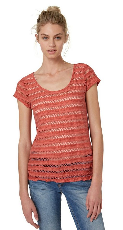 TOM TAILOR T-Shirt »feminines Shirt mit Struktur« in terracotta red