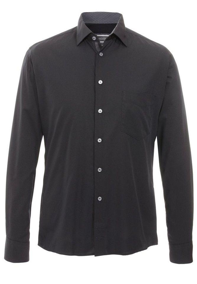 Hatico Bügelfreies Businesshemd in schwarz