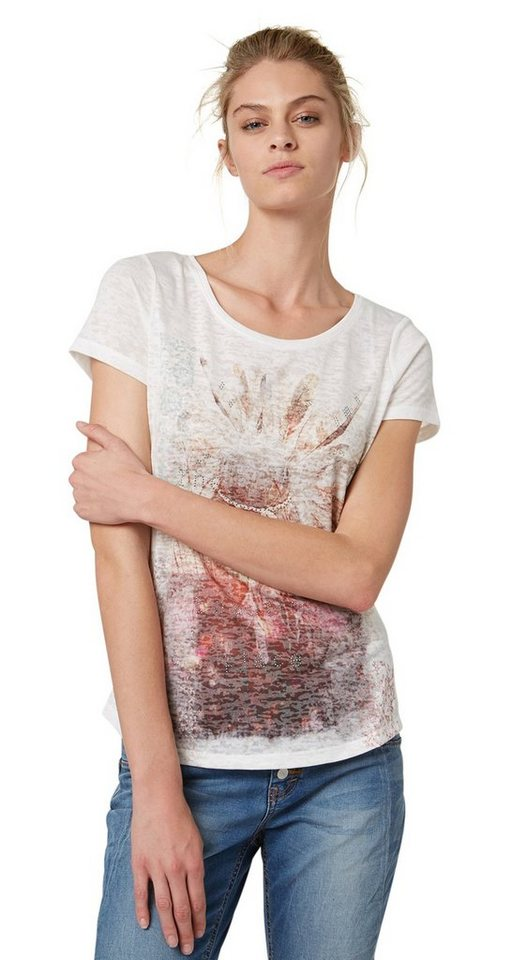 TOM TAILOR T-Shirt »Print-Shirt mit Strass-Details« in whisper white