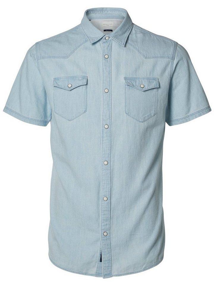 Selected Kurzärmeliges Jeanshemd in White