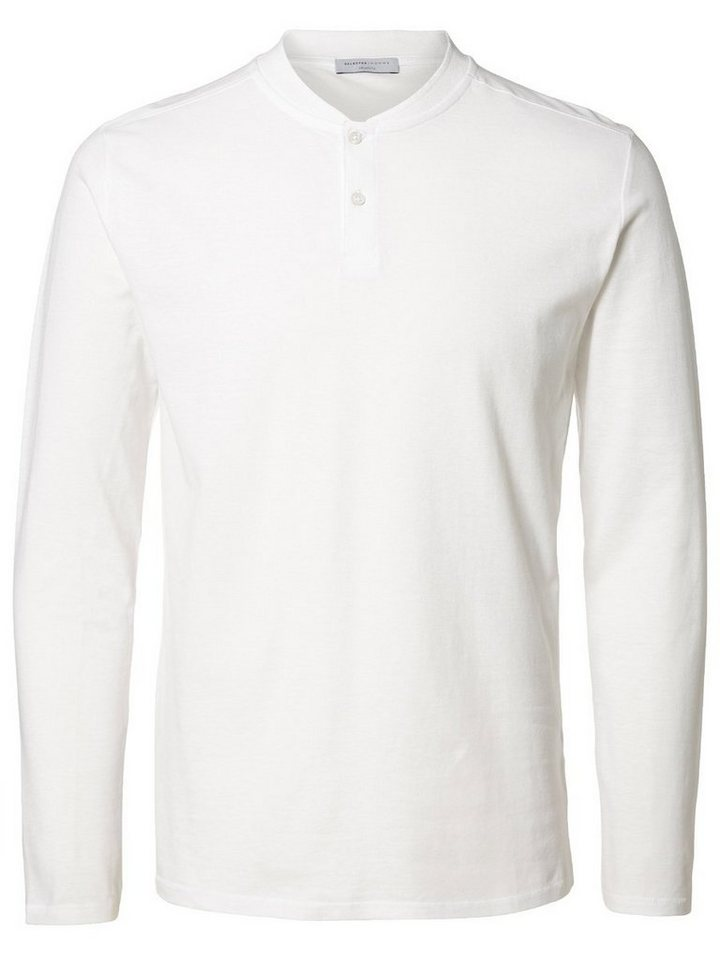 Selected Split-Neck- T-Shirt in Bright White