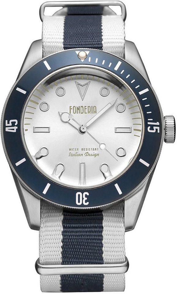 fonderia -  Quarzuhr »UAP8A002USB  Herren Uhr P-8A002USB Textil«, (Analoguhr), Herren Armbanduhr rund, weiß, blau, weiß