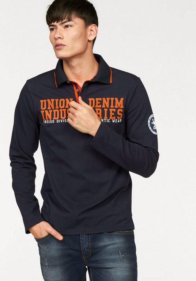 John Devin Langarm-Poloshirt in dunkelblau