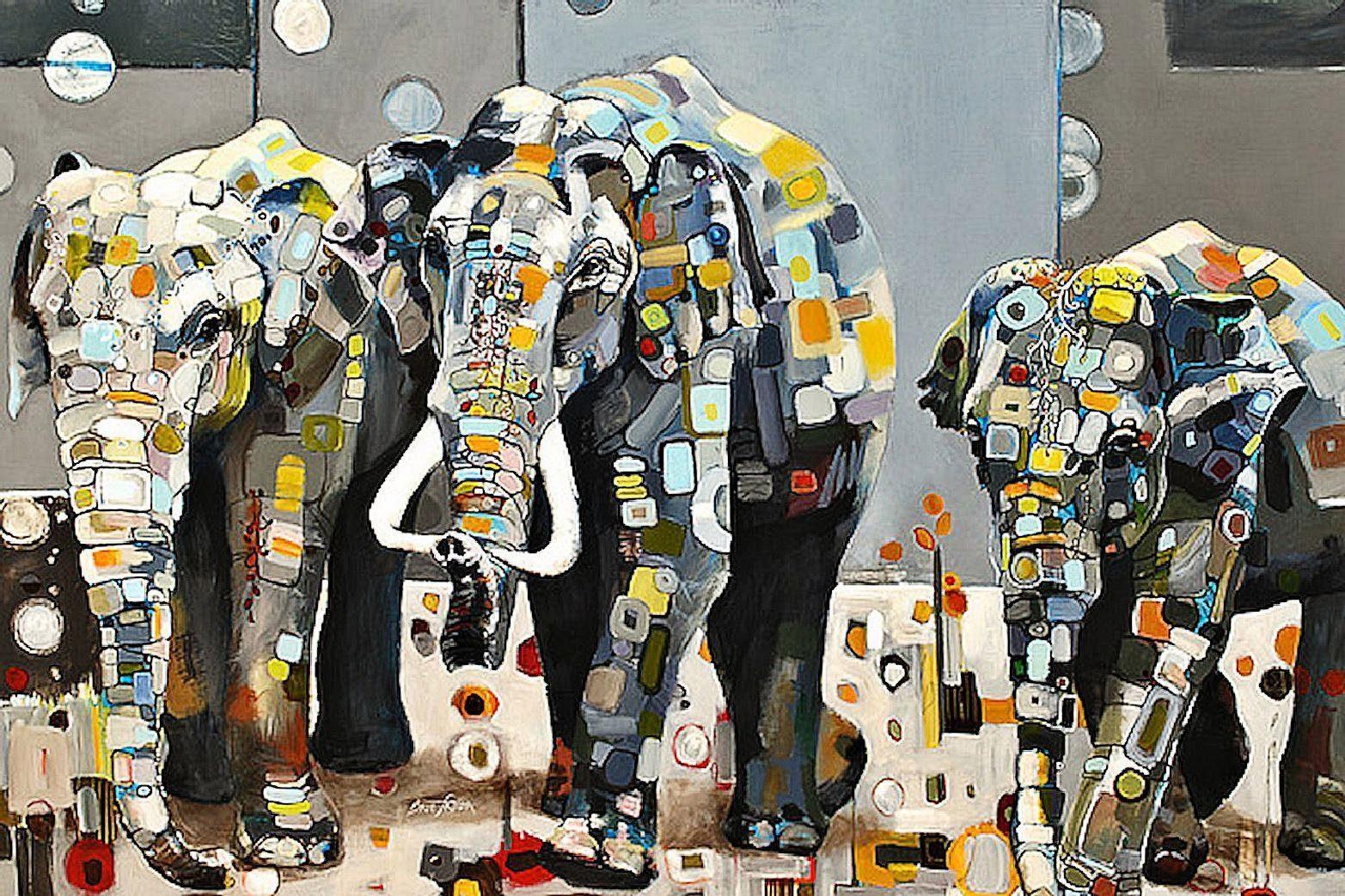 Home Affaire Deco Panel, »Britt Freda / Sumatra Elefanten«, 80/60/2 cm