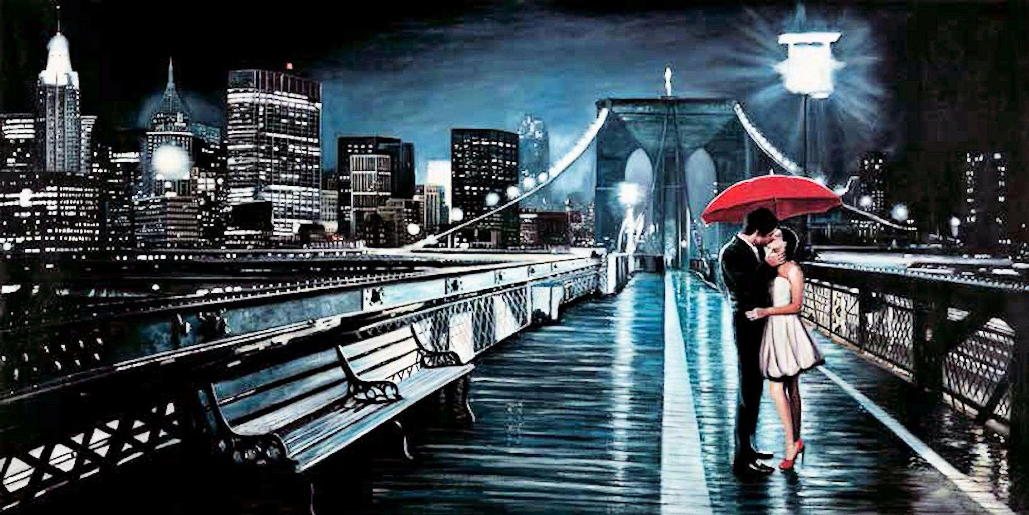 Home Affaire Deco Panel, »Pierre Benson / Kissing on Brooklyn Bridge«, 100/50/2 cm